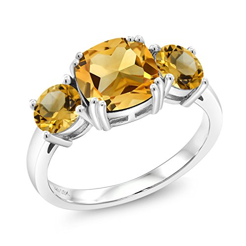 Gem Stone King 3.90 Ct Cushion Yellow Citrine 925 Sterling Silver Meghan Ring (Size 9)