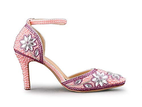 Hhgold 4 Shoes Mujeres Tamaño Uk Studded High Wedding Pink Para Flores Jem Ankle Strap Heel color rpnxSrPwOq