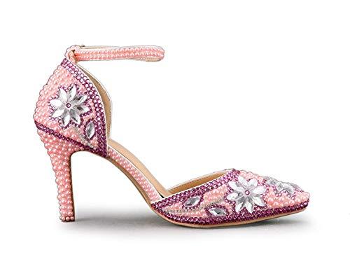 alla alla Jem UK da Heel Cinturino Scarpe 9cm Sposa Caviglia Caviglia Caviglia 9cm Cinturino Tacco con Dimensione Caviglia ZHRUI con alla Pink 6 Heel e Pink Alto Colore 7U16wxgq