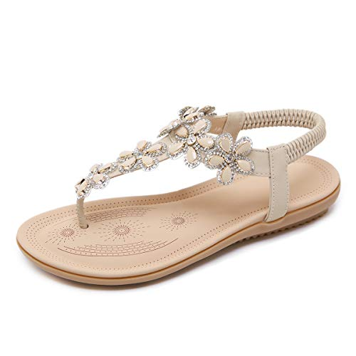 CARETOO Ladies Bohemia Flat Sandals, Women Summer Beach T-Strap Flip Flop Sparkling Rhinestone Walking Shoes Casual