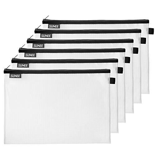 SUNEE Mesh Zipper Pouch Document Bag(Black, 6 Pack, 10x14 inchs), Letter Size Waterproof Document Pouch for School Office Supplies, Cross Stitch Organizing Storage (Black Mesh Zipper Pouch)
