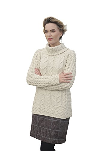 Supersoft Merino Cowl Neck Knit Aran Sweater (XX-Large, Natural) (Cowl Wool Sweater)