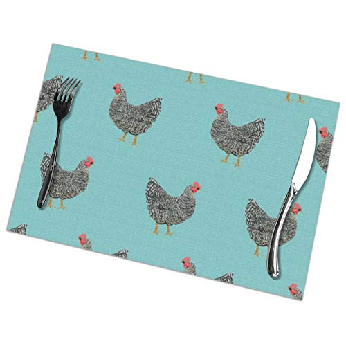 Homemen Placemats for Dining Table,Plymouth Rock Chicken Breed Farm Sanctuary Fabric Pattern Blue_3785,Non-Slip Insulation Placemat Washable PVC Polyester for Kitchen Banquet Party - Plymouth Rock Dinner