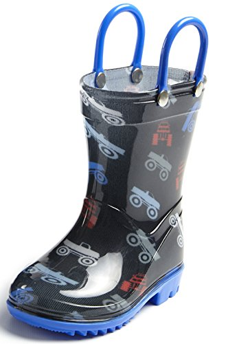 Puddle Play Toddler and Kids Rain Boots with Easy On Handles - Boys Blue Monster Truck Design Size 5 Toddler