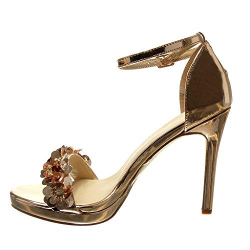 Angkorly - Scarpe da Moda sandali scarpe decollete stiletto sexy elegante donna fiori strass tanga Tacco Stiletto tacco alto 10.5 CM - Champagne