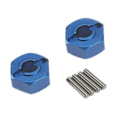 Traxxas 1654X Lightweight Blue-Anodized Aluminum Hex Wheel Hubs (2) and Axle Pins (4): Toys & Games
