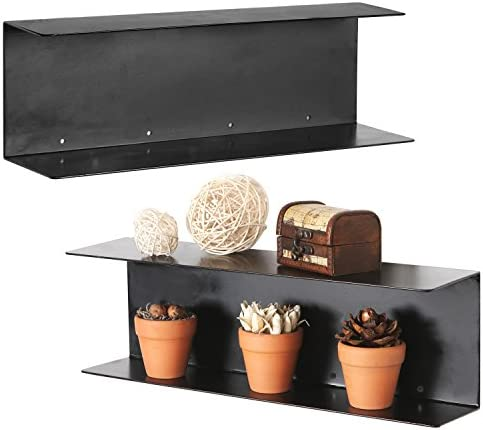 MyGift Modern Black Metal 17-Inch Floating Shelves, Set of 2