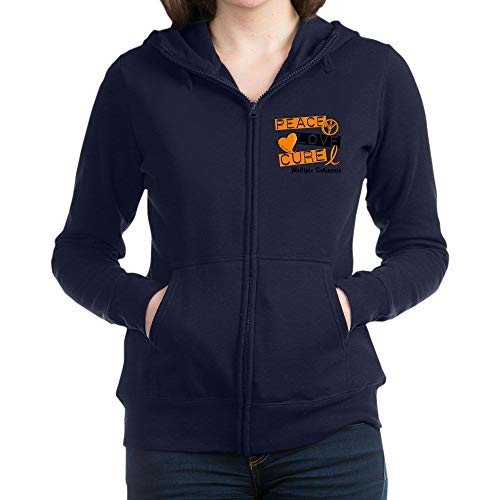 CafePress Peace Love Cure M Sweatshirt Women's Zip Hoodie Navy