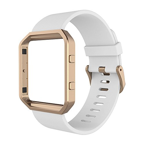 Simpeak Wristband for Fitbit Blaze,Soft Silicone Sport Strap with Rose Gold Metal Frame for Fitbit Blaze Smart Fitness Watch,White. Small