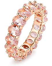 Barzel Created-Gemstone Eternity Ring for Women 18K White Gold Plated Oval Cut Created Gemstone Eternity Wedding Band
