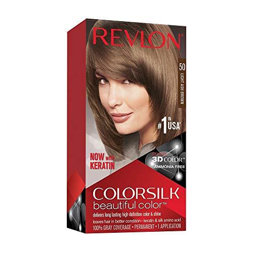 🥇 Revlon ColorSilk Tinte de Cabello Permanente Tono #50 Castaño Claro Cenizo