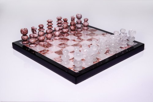 Price comparison product image Astro Gallery Of Gems Small Pink and White Onyx chess set - 3. 1 pounds