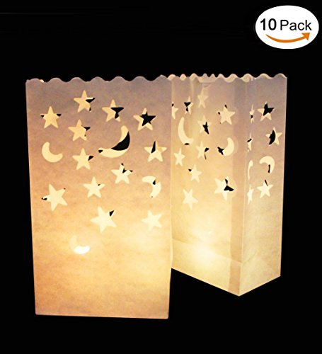 Vivian Luminary Bags Flame Resistant Tealight Candle Paper Bags for Wedding Party Home Decoration Set of 10 PCS (Star Moon)