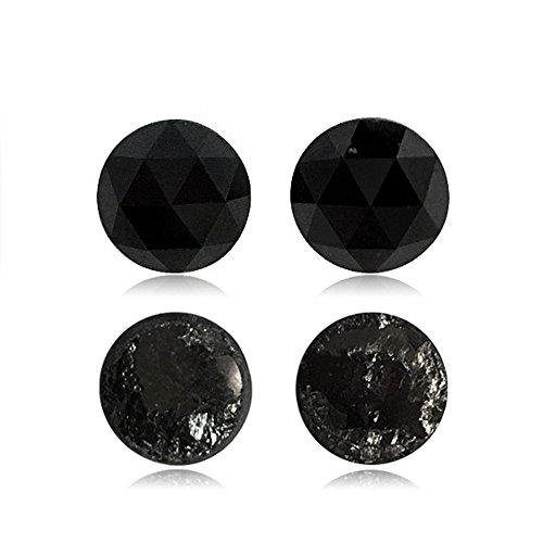 3.48 Cts 7.69-7.49×3.69 mm / 7.53-7.48×3.37 mm AA Round Rose Cut Matching ( 2 pcs ) Loose Black Diamonds {DIAMOND APPRAISAL INCLUDED}