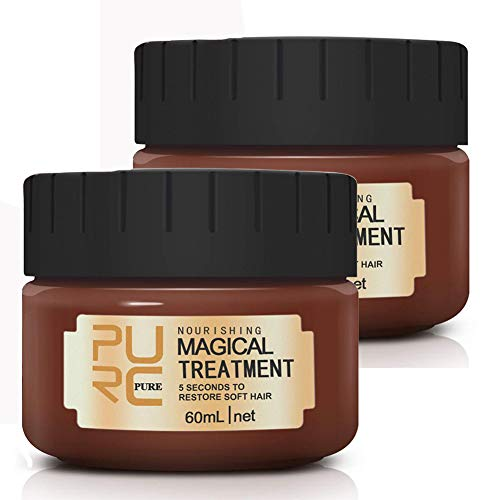 PURC 2pcs Hair Treatment Mask, 2019 Magical Hair Mask 5 Seconds Repairs Damage Hair Root Hair Tonic Keratin Hair & Scalp Treatment 60ML
