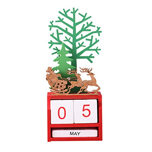 Toyvian Christmas Advent Calendar Tabletop Decoration Wooden Block Christmas Tree with Reindeer Advent Calendar for Xmas Holiday Party Ornaments