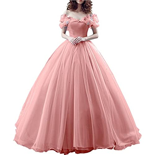 Gorgeous Bridal Ball Gown Cinderellas Off-shoulder Prom Gown Wedding Dresses- US Size 12