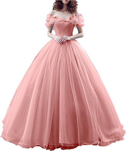 Gorgeous Bridal Ball Gown Cinderella's Off-shoulder Prom Gown Wedding Dresses- US Size (Cinderella Wedding Dress)