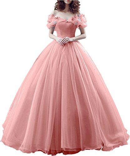 Gorgeous Bridal Ball Gown Cinderella's Off-shoulder Prom Gown Wedding Dresses- US Size (Cinderella Dress 2017)