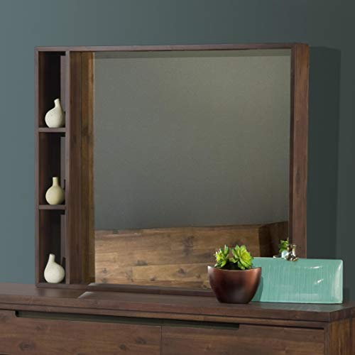 Modus Furniture 7Z4883 Portland Solid Wood Mirror, Walnut