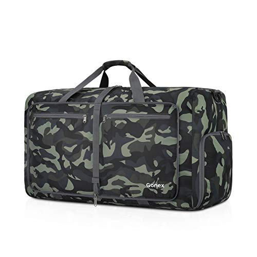 Gonex 40L Packable Travel Duffle Bag for Boarding Airline, Lightweight Gym Duffle Water Repellent & Tear Resistant Black and Green Camouflage