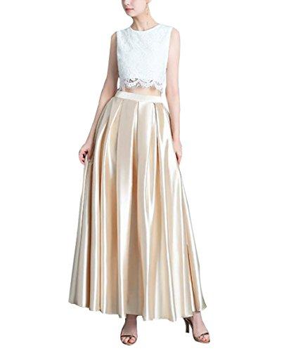Champagner Femme CoutureBridal Vintage Pliss Jupe Soire Longue Satin 95CM pour Jupe Elgante PadqPAwx