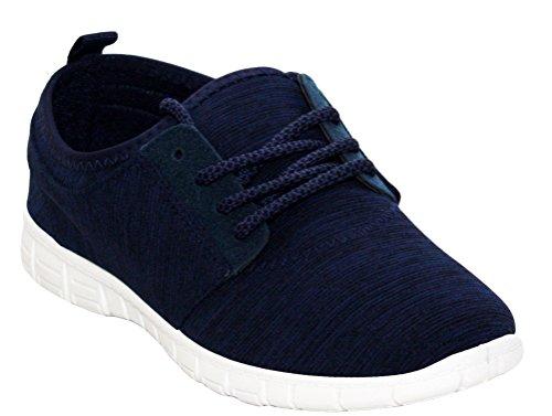 Ladies Womens Lightweight Slip On Go Walk Textile Girls Running Sports Gym Trainers Pumps Shoes UK Sizes 3-8 Navy 0lF74n