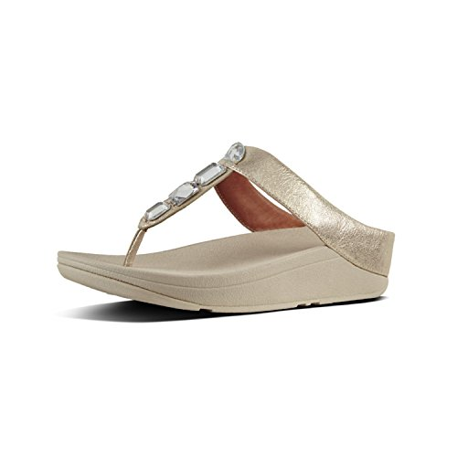 FitFlop Womens Roka Toe Thong Leather Sandal Shoes, Silver, US 9