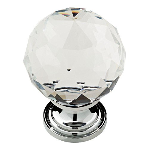 - 1-3/16 in. Chrome Faceted Crystal Knob