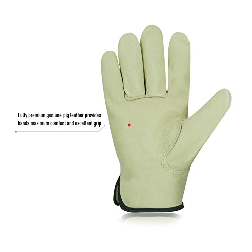 Vgo 3Pairs Unlined Men's Pigskin Leather Work Gloves, Drivers Gloves(Size XL,Light Cyan,PA9501) by Vgo... (Image #2)