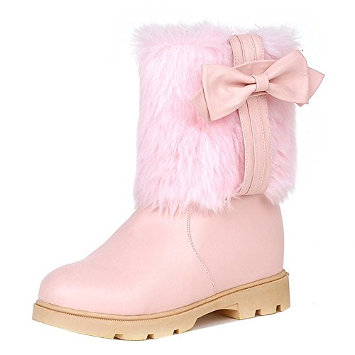 COOLCEPT Women Low Heel Pull On Snow Boots Collar Cuff Bowknot Pink bOCmX