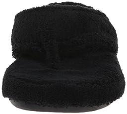 ACORN Women\'s Spa Thong Slipper, Black, Large (US Women\'s 8-9 M)