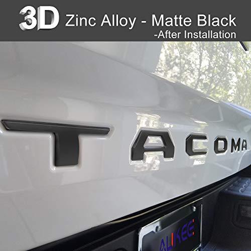 (Aukee Tailgate Letters for Toyota Tacoma 2016 2017 2018 Emblem Inserts 3D Raised Metal (Matte Black))