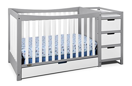 (Graco Remi 4-in-1 Convertible Crib and Changer, Pebble Gray/White, Easily Converts to Toddler Bed Day Bed or Full Bed, Three Position Adjustable Height Mattress, Assembly Req (Mattress Not)