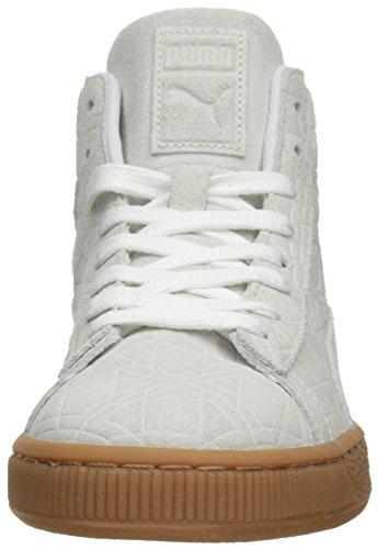 Puma Suede mediados de relieve las zapatillas de deporte White