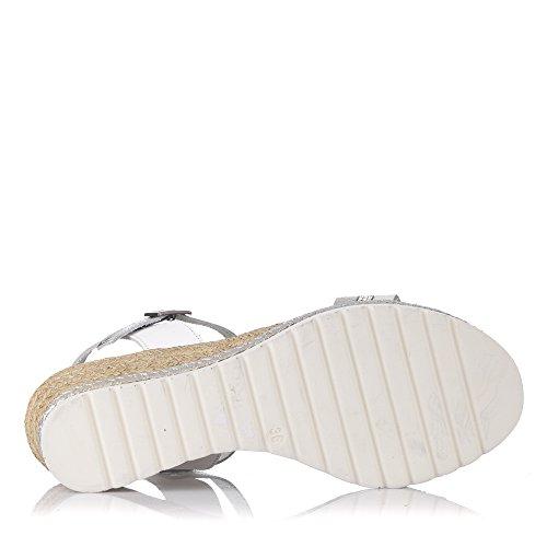 Sandalias Cuña Mujer PORRONET Blanca-Plata -2356- Blanco