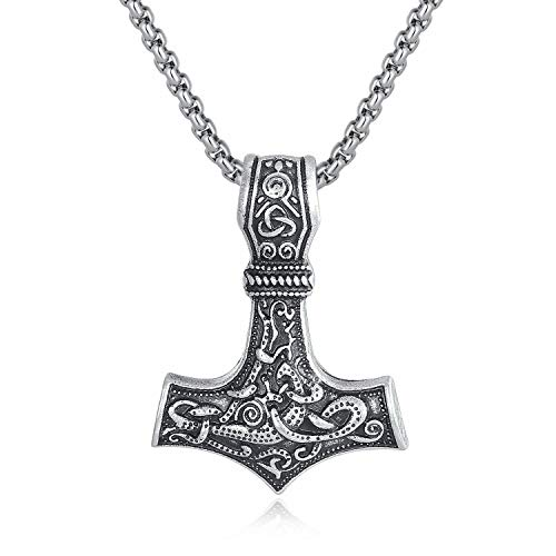 - Holyheart Thor's Hammer Necklace Mjolnir Pendant, Viking Necklace, Viking Jewelry, Norse Mythology Necklace, Amulet Norse Necklace, Handmade Gift Viking Jewelry for Men Unisex