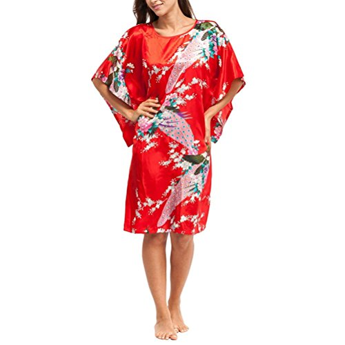 Laixing Buena Calidad Women Short Sleeve Loose Soft Nightgown Yukata Robe Sleepwear One Size CL-WQ1 Red