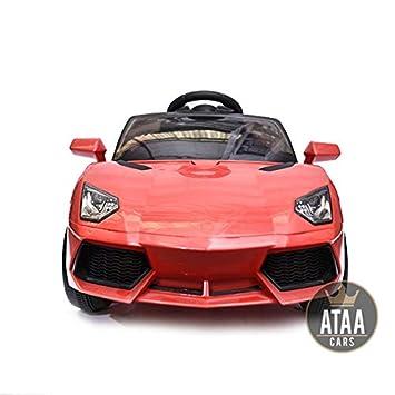 ATAA Coche eléctrico niños 12v Estilo Lamborghini con Mando - Potente batería 12v - Rojo