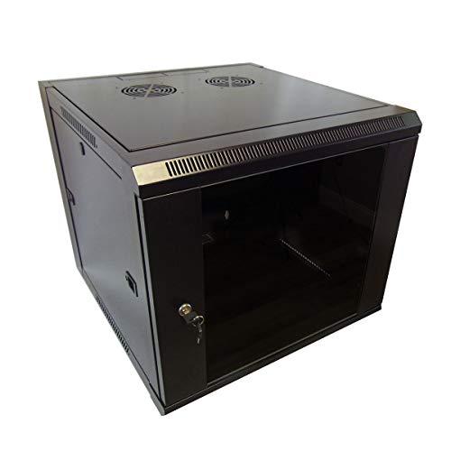 inet 19-inch Server Network Rack Locking Glass Door 17.7 inches Depth Black (9U IT Wall Mount Cabinet 19-inch Server Network Rack with Locking Glass Door 17.7 inches Depth Black) ()