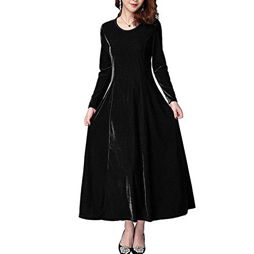 Cuello Maxi de Mujer Black Larga Redondo Manga Xsayjia de Vestido Vestido Fiesta Largo Terciopelo Vestido Elegante qRnXP