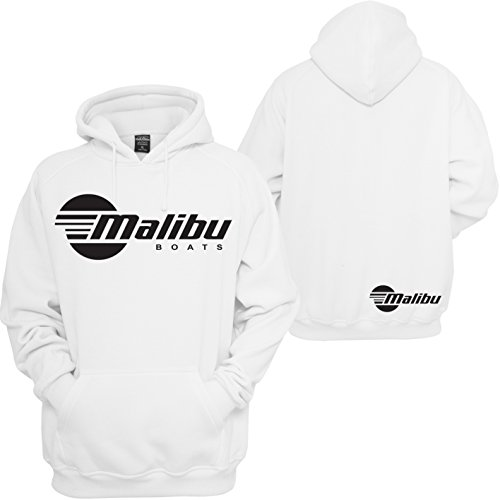 (Custom Teez Malibu Boats Hoodie Wake Board Skier Motorsport Racing JDM Pullover Sweatshirt White)