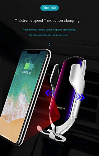 Wireless Car Charger Mount,Infrared Intelligent Mount,Built-in Bluetooth, Vehicle Positioning,Qi Wireless Charging,for iPhone Xs/X/XR/XS MAX/8/8Plus/Samsung Galaxy s8/s9/s10 /s7 etc (Silver) (Cradle Charging Bluetooth)