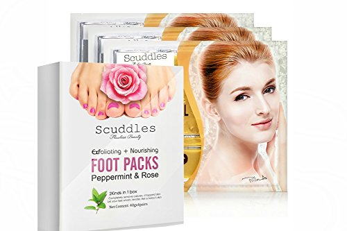Upgraded 2017 Exfoliating Nourishing Foot Packs- Includes 4 Pairs Of Scented Peppermint & Rose Foot Gloves , Peels off Callus and Dead Skin, BONUS 3 Pack Of 24K Gold Collagen Gel Masks Sheets