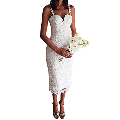 TrendsGal Sweet Strappy Zippered Pure Color Lace Bodycon Women Midi Dress(White M) from TrendsGal