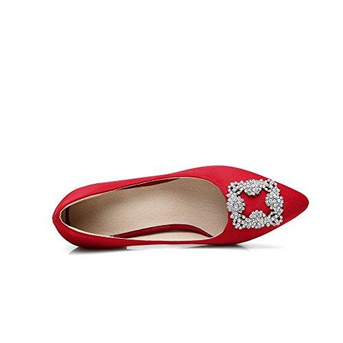 AllhqFashion Mujeres Tacón ancho Tachonado De salón con Diamante de Imitación Rojo
