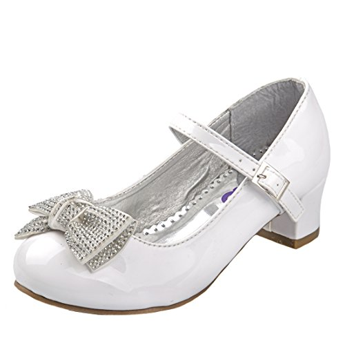 Josmo Girl's Heel Patent Dress Shoe With Bow, White Patent w/Stone, 1 M US Little Kid'