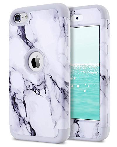 Dailylux iPod Touch 5 Case,iPod Touch 6 Case,3in1 Hybrid Impact Resistant Shockproof Hard Case with Soft Silicone Protective Cover for Apple iPod Touch 5th 6th Generation Girls/Boys-Marble+Grey