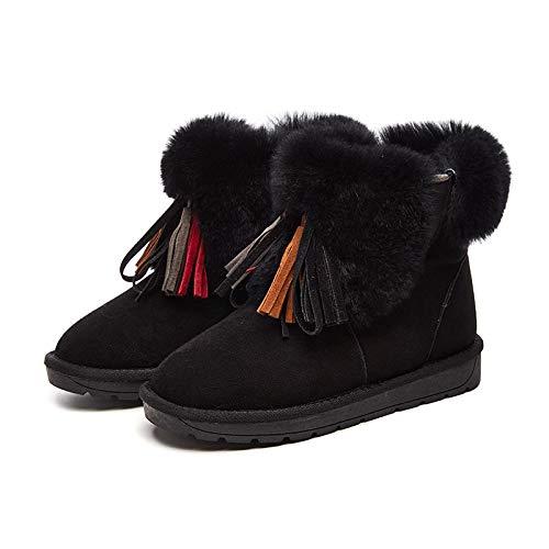 Bottes Boots maison pour Zhw Snow extérieur la etc épaisses Glands élégantes chaudes femmes noir de Chaussures Femmes Pq5IOH5