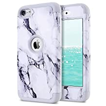 iPod Touch 5 Case,iPod Touch 6 Case,Dailylux 3in1 Hybrid Impact Resistant Shockproof Hard Case with Soft Silicone Protective Cover for Apple iPod Touch 5th 6th Generation Girls/Boys-Marble+Grey